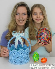 Alcohol Ink Easter Egg Video by Lorrie Popow and Free Pattern Crochet Easter Basket by e Lee from The Crochet Lounge Crocheted by Naztazia