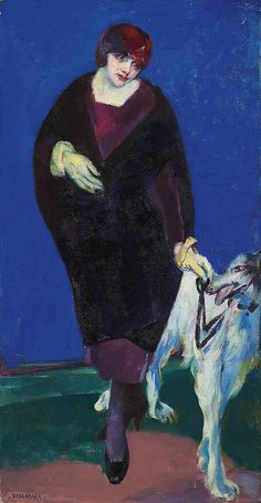 The artist's wife with Afghan hound (Babs and dog) - Alfred Wolmark (1877-1961)