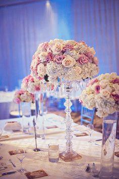 striking cream and pink floral arrangements.
