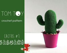 Cactus 2 Pink Flower Crochet PATTERN potted cacti plant