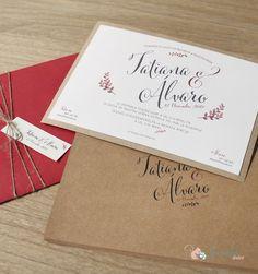 Invitación de boda con caligrafía vintage. Papel de lino sobre kraft