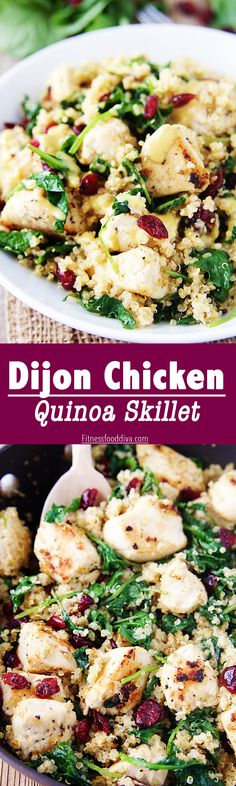Dijon Chicken Quinoa Skillet is fast, fresh and taste amazing. It is protein packed and tastebud approved.