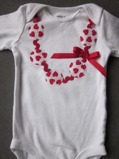 Hip hearts applique necklace onesie or tee with ric rac detail, long or short sleeve. $18.00, via Etsy.