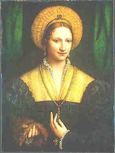 Shirred balzo or capigliara. Portrait of a Woman, by Bernardo Luini, National Gallery, Washington, D.C. Note ermine or mink in right hand.