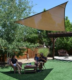 Add shade anywhere with a lightweight shade sail. Suspend it from trees, anchored poles, or existing structures.