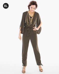 """You'll glide gracefully in a chic utility jumpsuit that's fit for office or evening. A tie-belt waist cinches the style, while wide legs and kimono sleeves keep you flowy and fabulous.         Tie belt at the waist.   Long sleeves.   Inseam: 28"""".   Polyester.    Machine wash. Imported."""