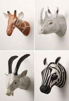 Find This Pin And More On Nursery Ideas Papier Mache Animal Heads