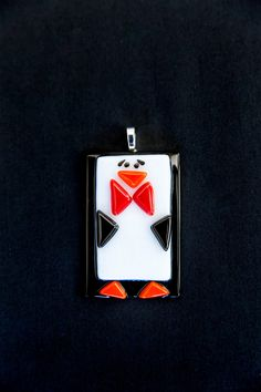 Fused glass ornaments: Penguin