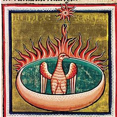 'The phoenix burns in their nest'. Miniature Oxford Bestiary (XIII century, University of Oxford). -- In the Middle Ages, the bird is associated with the resurrection of the body, death and resurrection of Christ. It's is a gentle and beautiful being that all the other birds love and is always represented with a few rays of light around the head.