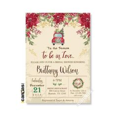 Christmas Bridal Shower Invitations Holiday Winter Invite Bridesmaids Brunch Rustic Vintage Poinsettia Printable / Printed FREE SHIPPING 115 Bridesmaid Brunch, Bridesmaids, Christmas Bridal Showers, Poinsettia, Bridal Shower Invitations, White Envelopes, Rsvp, Invite, Printable