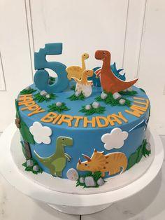 Blue Orange Green and Yellow Dinosaur Birthday Cake Dinasour Birthday Cake, Yellow Birthday Cakes, Baby Birthday Cakes, Dinosaur Birthday Party, Blue Birthday, Birthday Ideas, Dinosaur Cakes For Boys, Dino Cake, Sweet Girls