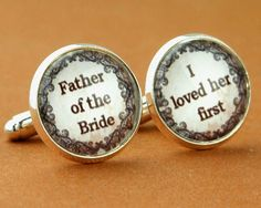 father of the bride wedding date cufflinks, Wedding cuff links, father of the bride gift. on Etsy, $22.99