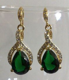 Emerald Green Bridal Earrings Twirl Wedding Jewelry by YJCouture, $49.00