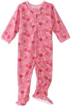 Little Me Baby-Girls Infant Rose Zip Footie