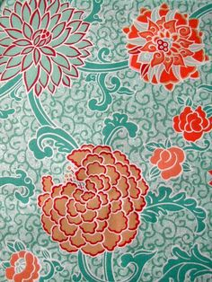 teal and red japanese flower fabric