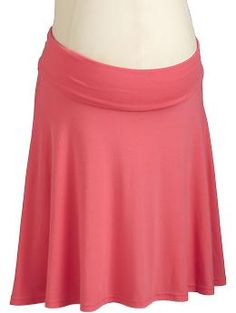 Maternity Fold-Over Skirts - Couture and comfort unite in a soft, stylish asymmetrical skirt. Smooth jersey knit features a fold-over waistband for a flattering fit. A touch of spandex adds stretch.