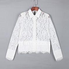Mujer Simple Casual/Diario Verano Camisa,Cuello Camisero Un Color Manga Larga Blanco Translúcido 2017 - $30048