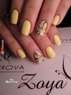 Pin by Alexia Chénier on manucure in 2019 23 Great Yellow Nail Art Designs 2019 1 Black Nail Designs, Nail Designs Spring, Nail Art Designs, Nails Design, Pedicure Designs, Spring Nail Art, Spring Nails, Summer Nails, Butterfly Nail Designs