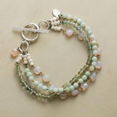 "Sundance catalogue: hand-crafted ""Pastel Parfait"" bracelet with pink chalcedony, moss aquamarine, and tinted serpentine topped with cultured pearls and a sterling silver toggle clasp (US $120 on sale)"