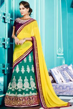 Yellow Color Designer Party Wear Sarees From Easysarees.