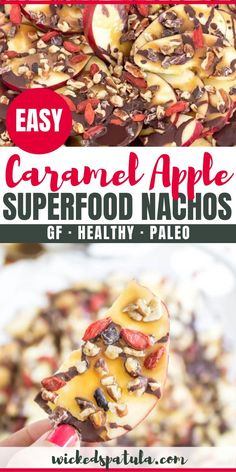 Apple Superfood Nachos {dairy free paleo} Caramel Apple Nachos - dairy free, refined sugar free, and loaded with fun superfood toppings!Caramel Apple Nachos - dairy free, refined sugar free, and loaded with fun superfood toppings! Best Gluten Free Recipes, Paleo Recipes Easy, Diet Recipes, Vegetarian Recipes, Healthy Chocolate Desserts, Healthy Sweets, Apple Nachos, Sugar Free Bacon, Paleo Appetizers