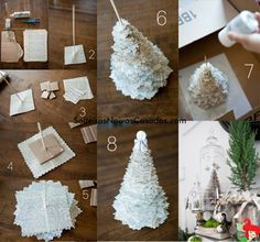 Christmas Tree from an old book or sheet music - rockstar diaries: holiday guest post // holiday mantle craft from candice stringham. Noel Christmas, Winter Christmas, All Things Christmas, Christmas Ornaments, Christmas Paper, Origami Christmas, Christmas Wedding, Christmas Projects, Holiday Crafts