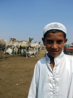 Young boy at camel market in Birqash, Egypt