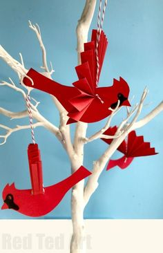 Easy Paper Fan Cardinal Ornament for Christmas. How to make a paper fan bird. This stunning red bird ornament is & Animal Crafts For Kids, Paper Crafts For Kids, Christmas Crafts For Kids, Christmas Activities, Christmas Art, Holiday Crafts, Easy Crafts, Beautiful Christmas, Paper Christmas Ornaments