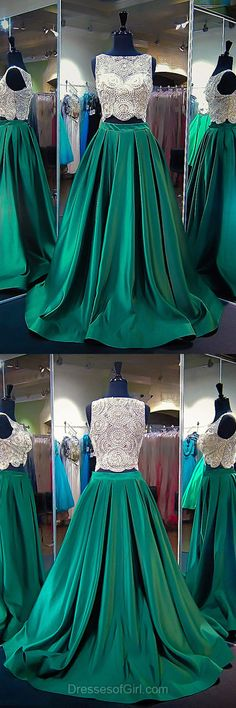 Green Homecoming Dresses,Elegant Princess Party Dresses,Scoop Neck Satin Tulle Formal Dresses, Beading Two Piece Prom Dresses,Long Evening Dresses