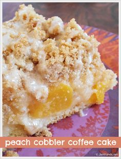 This coffee cake has a few layers to enjoy. A base of coffee cake, a layer of peaches, more cake, then a streusel topping and a basic powdered sugar glaze tops it off. If you wanted to go over the top you could serve it with vanilla ice cream but I thought it was just perfect as is.