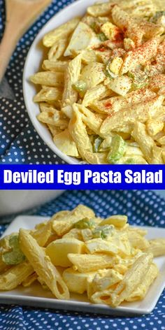 Healthy Egg Recipes Everyone's favorite hard boiled egg appetizer meets creamy pasta salad in this fun combo of Deviled Egg Pasta Salad. It's the best dish, bound for your next barbecue- and it's epic. Top Recipes, Pasta Recipes, Cooking Recipes, Recipes With Eggs, Cooking Kale, Simple Recipes, Drink Recipes, Creamy Pasta Salads, Best Pasta Salad