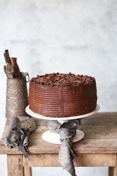Coffee Mascarpone Layered Cake with Dark Chocolate Ganache