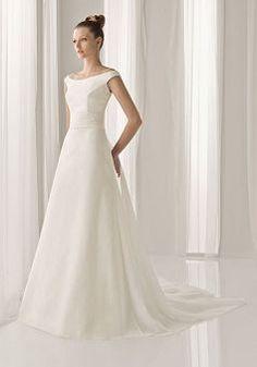 Classic Satin Off the Shoulder A line Spring Chapel Train Bridal Dresses - 1300100192B - US$210.49 - BellasDress