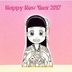 お年玉をもらって、ニンマリな女の子、まりの消しゴムはんこ原版です♫ ≪Happy New Year 2017≫  #消しゴムはんこ #eraserstamp #keshihan #rubberstamp #print #printmaking #モノクロ #モノクローム #monochrome #blackandwhite #instagood #女の子 #girl #まり #mari #着物 #kimono #お年玉 #酉年 #アート #art #newyear #newyearsday #年賀状 #newyearscard #2017年制作