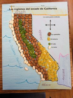 Regions of California with pinto bean mountains, green lentil valley, pasta shell desert and white bean coast
