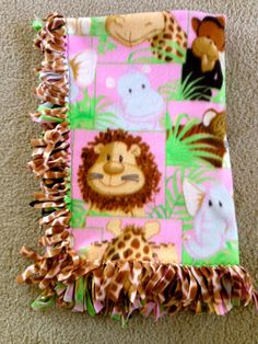 Jungle Babies Pink Fleece Knot Tied Blanket by SewingLoveSeeds, $29.00