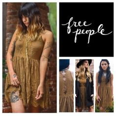 """Free People Verushka Gold  Lace Dress.  NWT. Free People Golden Honey Verushka Mini Dress, 60% cotton, 40% nylon, washable, 16.5"""" armpit to armpit (33"""" all around) 30"""" waist (no stretch), 33.5"""" length, delicate lace sleeveless featuring a mock neck and scalloped, eyelash lace trim, sheer lace panel down the front bodice and button down detail back and keyhole openings, hidden side zip closure, lined, measurements are approx.  No PayPal...No Trades... Free People Dresses Mini"""