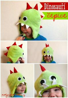 Dinosauří čepice pro děti / DIY toddler dinosaur hat Dinosaur Hat, Dinosaur Stuffed Animal, Little Ones, Mom, Animals, Animales, Animaux, Animal, Animais