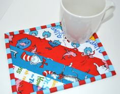 Mug Rug Snack Mat Oversize Coaster Dr Seuss Red by MagpieQuilts, $6.00. Perfect barbie blanket, too.