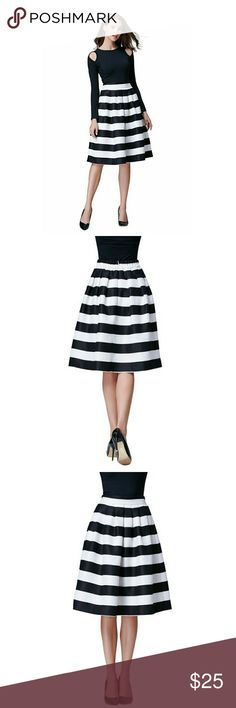 Striped Midi Skirt Zipper back striped skirt, very thick material with lots of volume. Black and ivory or off white. NWOT only worn to try on. It's a little too poofy for my taste but it's a super cute skirt! Very classy look :) Hika Skirts Midi