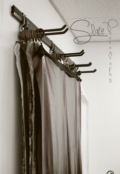 Fabric backdrop storage - Curtain hooks