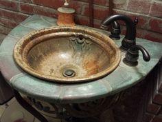 Me encanta este concepto de la bacha de cerámica y todo lo que compone el conjunto ... ( Toros Pottery )