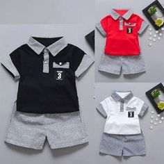 Comprar Fashion Toddler Kids Baby Boy Letter Printed Tops+Striped Shorts Clothes Set em Wish - Comprar ficou mais divertido Boys Summer Outfits, Cute Outfits For Kids, Baby Boy Outfits, Baby Boy Fashion, Toddler Fashion, Kids Fashion, Baby Girl Shirts, Shirts For Girls, Baby Boy Dress