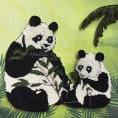 """Title: """"PANDAS IN THE FOREST"""" """"12 x12"""" (30cmx30cm) fQuilling, hand crafted paper artwork by Jan. For custom orders please contact quilling_in_harmony@hotmail.com"""