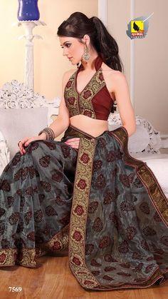 New Indian ethnic Bollywood Sari Designer Fancy Party Saree Wedding 7569 | eBay