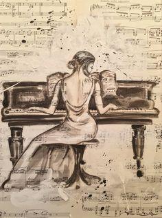 La Pianiste  Indian Ink on muscipaper
