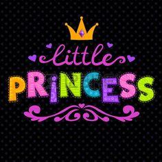 corona de princesa: Ilustración vectorial lindo para las niñas camiseta de impresión, poco letras princesa en negro Vectores