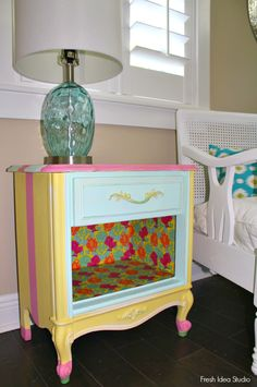 easy DIY nightstand makeover flower gift wrap and Mod Podge