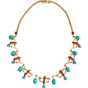 Retro 14k Gold Persian Turquoise and Ruby Gemstone Drop Necklace