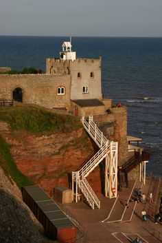 Jacob's Ladder - Sidmouth, Devon, UK leads to a pebble beach, the pebbles are protected and it is an offence to remove them